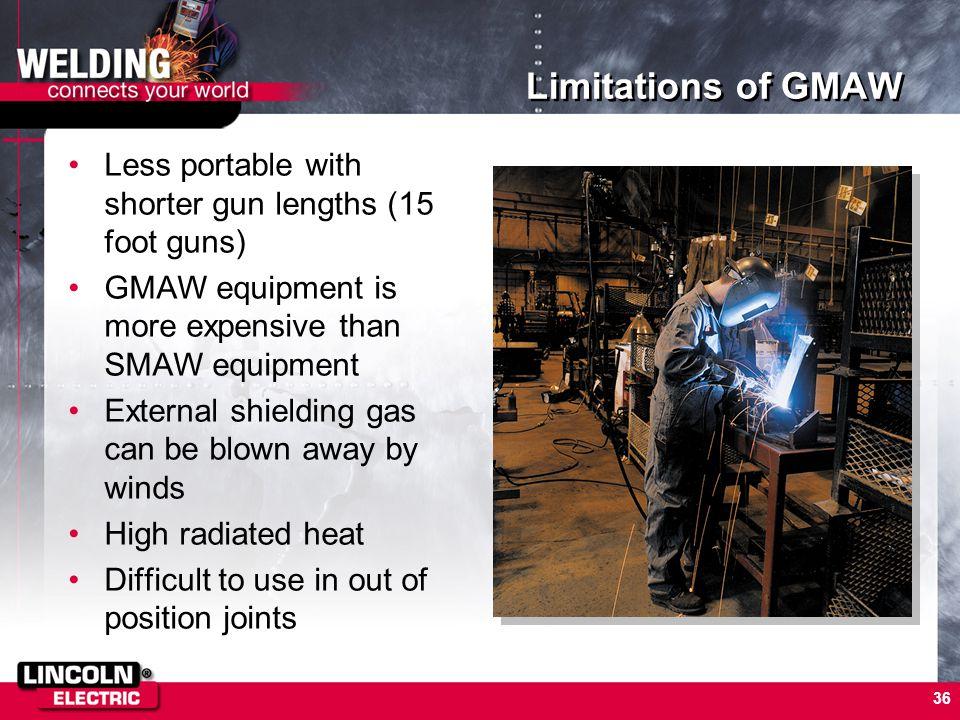 36 Limitations of GMAW Less portable with shorter gun lengths (15 foot guns) GMAW equipment is more expensive than SMAW equipment External shielding g