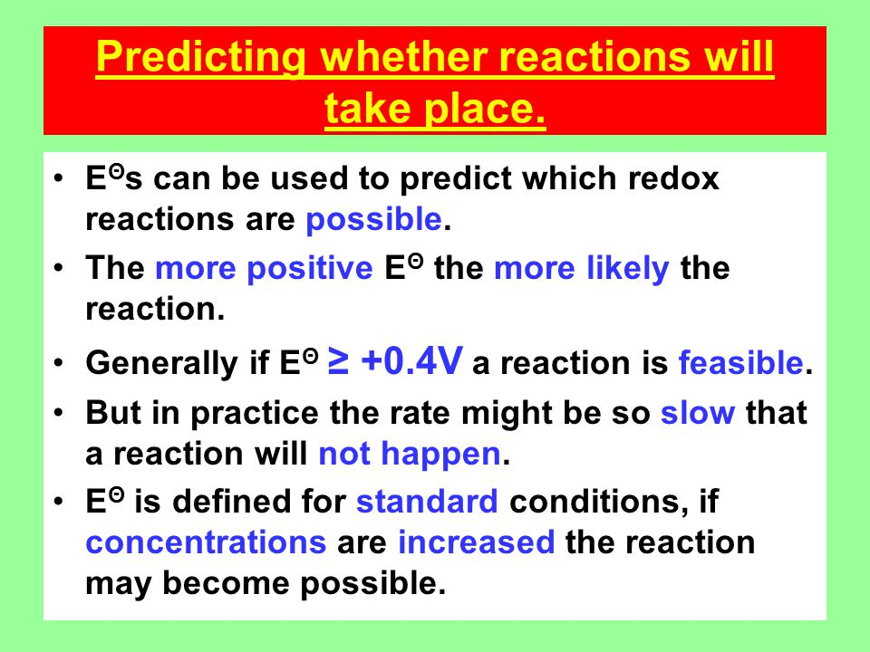 Predicting whether reactions will take place.