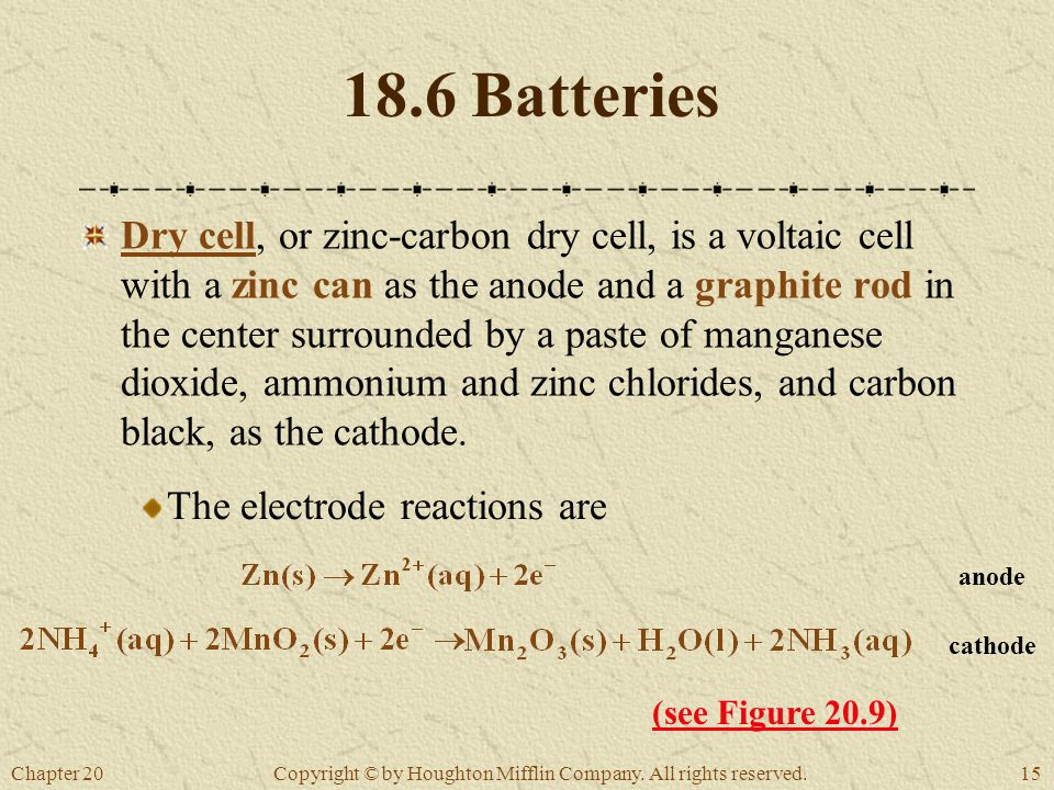 Chapter 2015 Copyright © by Houghton Mifflin Company. All rights reserved. 18.6 Batteries Dry cell, or zinc-carbon dry cell, is a voltaic cell with a