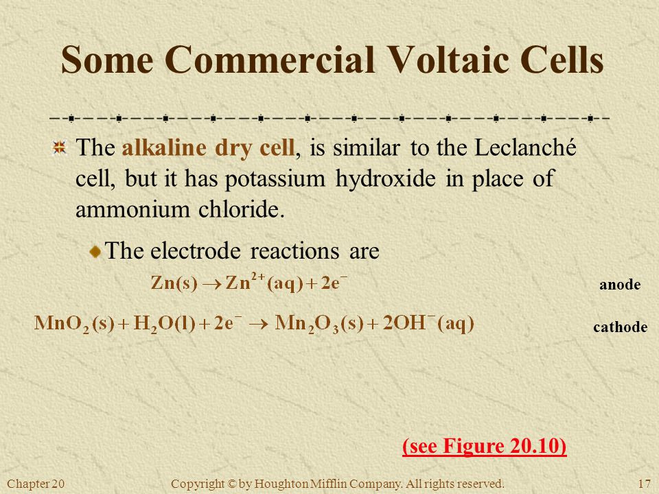 Chapter 2017 Copyright © by Houghton Mifflin Company. All rights reserved. Some Commercial Voltaic Cells The alkaline dry cell, is similar to the Lecl