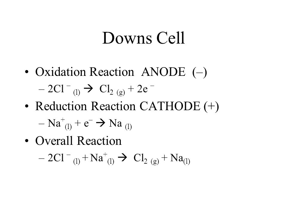 Downs Cell Oxidation Reaction ANODE (–) –2Cl – (l)  Cl 2 (g) + 2e – Reduction Reaction CATHODE (+) –Na + (l) + e –  Na (l) Overall Reaction –2Cl – (l) + Na + (l)  Cl 2 (g) + Na (l)