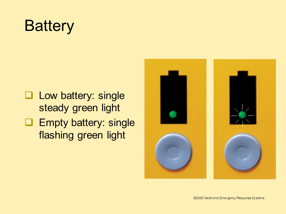 ©2006 Medtronic Emergency Response Systems Battery  The 1000 is powered by a nonrechargeable lithium manganese dioxide battery pak  Battery pak fuel gauge indicates battery's charge level  Fully charged battery: all green lights illuminated