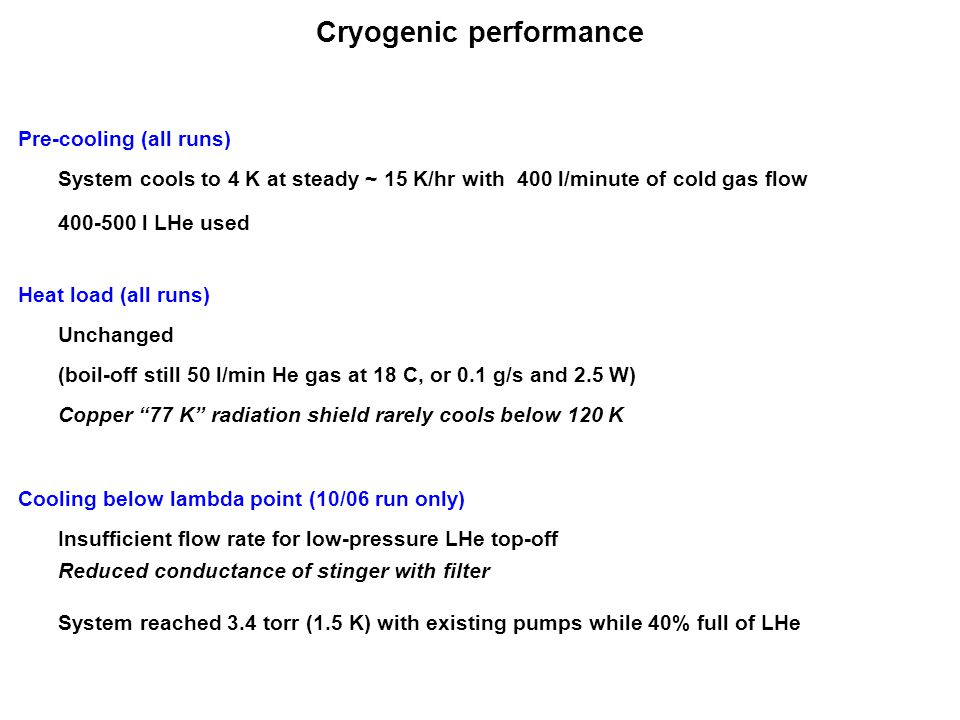 "Cryogenic performance Heat load (all runs) Unchanged Copper ""77 K"" radiation shield rarely cools below 120 K Pre-cooling (all runs) (boil-off still 50"