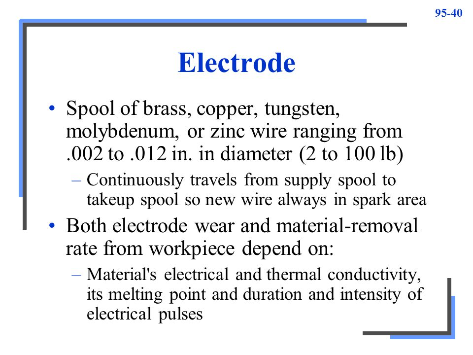 95-41 Characteristics of Electrode Materials 1.Be good conductor of electricity 2.Have high melting point 3.Have high tensile strength 4.Have good thermal conductivity 5.Produce efficient metal removal from workpiece