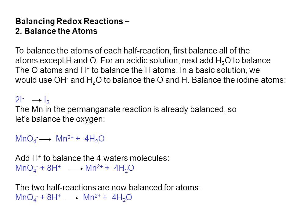 Balancing Redox Reactions – 2.