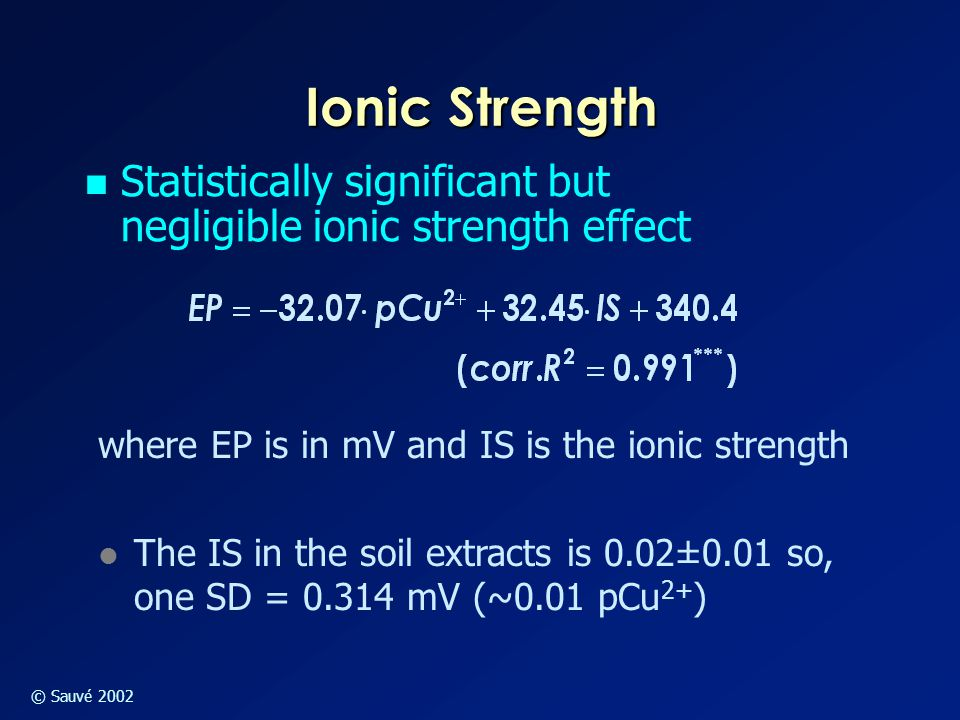 © Sauvé 2002 Ionic Strength Statistically significant but negligible ionic strength effect where EP is in mV and IS is the ionic strength l The IS in the soil extracts is 0.02±0.01 so, one SD = 0.314 mV (~0.01 pCu 2+ )