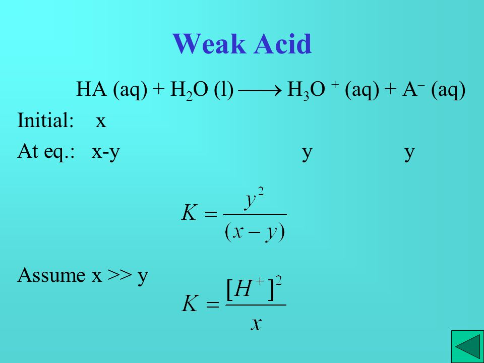 Buffer solution HA (aq) + H 2 O (l)  H 3 O + (aq) + A  (aq) Initial: x x At eq.: x-y y x+y Assume x >> y [H + ] = y = K pH = pK