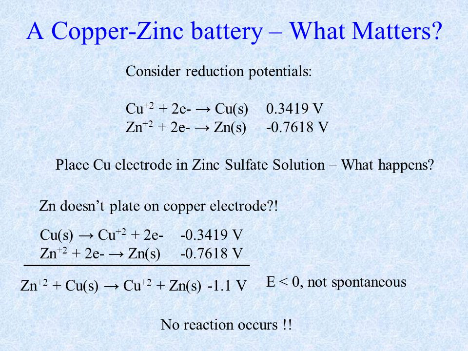 A Copper-Zinc battery – What Matters.