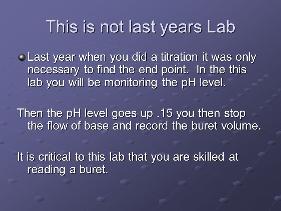 This is not last years Lab Last year when you did a titration it was only necessary to find the end point. In the this lab you will be monitoring the