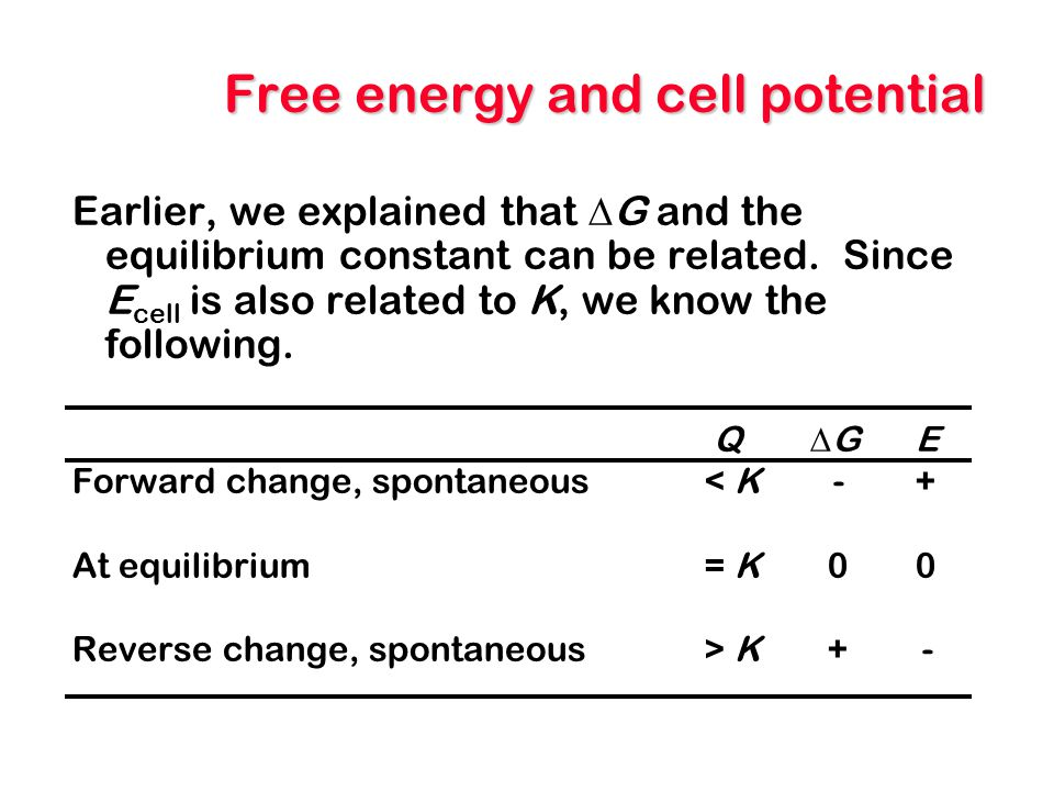 Free energy and cell potential Earlier, we explained that  G and the equilibrium constant can be related. Since E cell is also related to K, we know