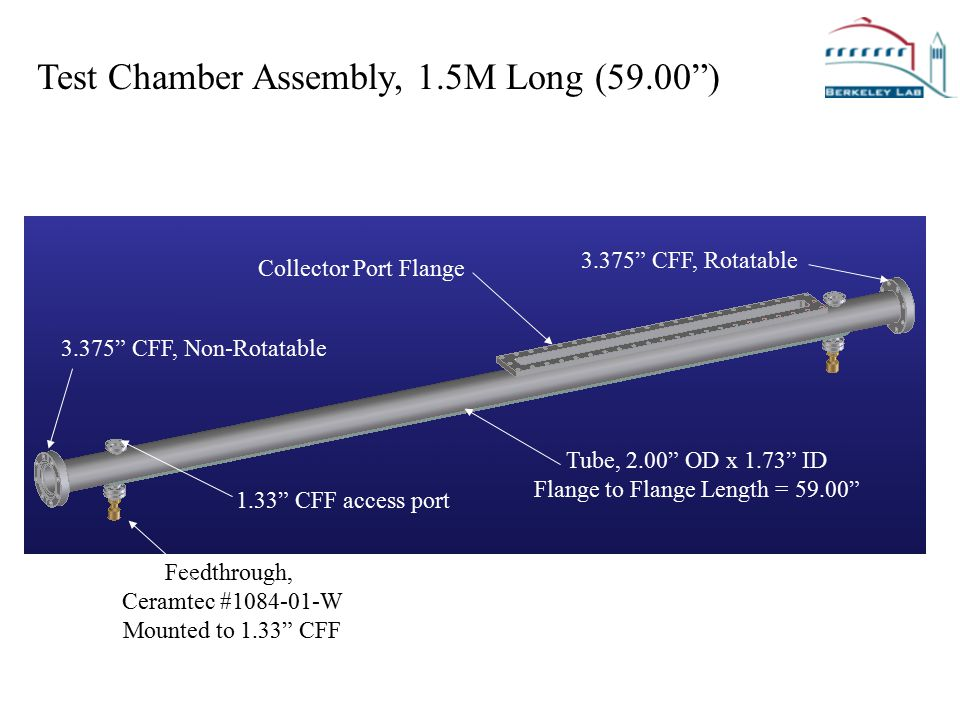 Test Chamber Assembly, 1.5M Long (59.00 ) Vacuum Tube, 4.00 OD x 3.50 ID Vacuum Tube, 3.75 OD x 3.51 ID 3.375 CFF, Non-Rotatable Feedthrough, Ceramtec #1084-01-W Mounted to 1.33 CFF 3.375 CFF, Rotatable Tube, 2.00 OD x 1.73 ID Flange to Flange Length = 59.00 Collector Port Flange 1.33 CFF access port