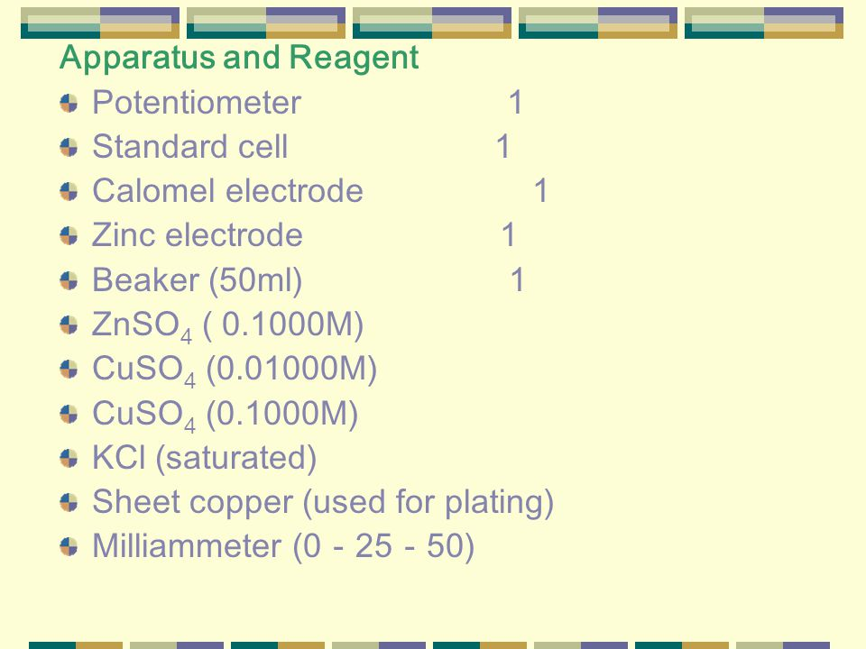 Apparatus and Reagent Potentiometer 1 Standard cell 1 Calomel electrode 1 Zinc electrode 1 Beaker (50ml) 1 ZnSO 4 ( 0.1000M) CuSO 4 (0.01000M) CuSO 4 (0.1000M) KCl (saturated) Sheet copper (used for plating) Milliammeter (0 - 25 - 50)