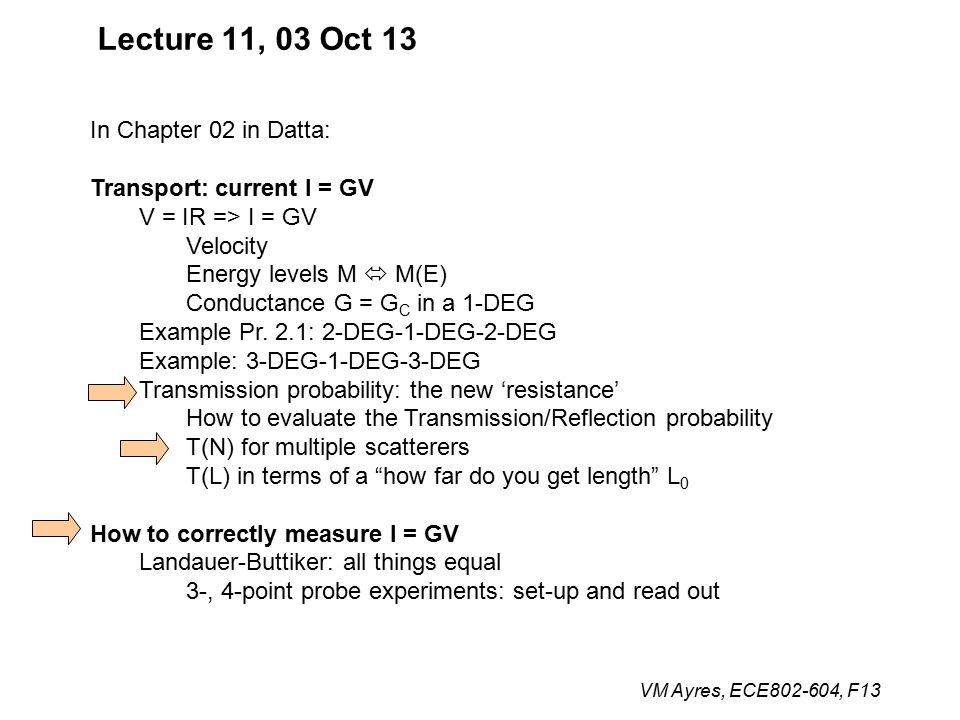 VM Ayres, ECE802-604, F13 Lecture 11, 03 Oct 13 In Chapter 02 in Datta: Transport: current I = GV V = IR => I = GV Velocity Energy levels M  M(E) Conductance G = G C in a 1-DEG Example Pr.