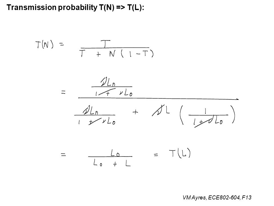 VM Ayres, ECE802-604, F13 Transmission probability T(N) => T(L):