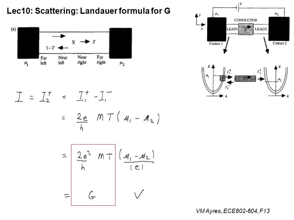 VM Ayres, ECE802-604, F13 Lec10: Scattering: Landauer formula for G