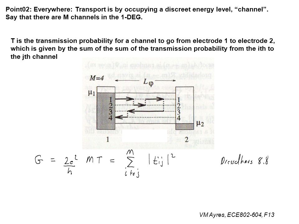 VM Ayres, ECE802-604, F13 Point02: Everywhere: Transport is by occupying a discreet energy level, channel .