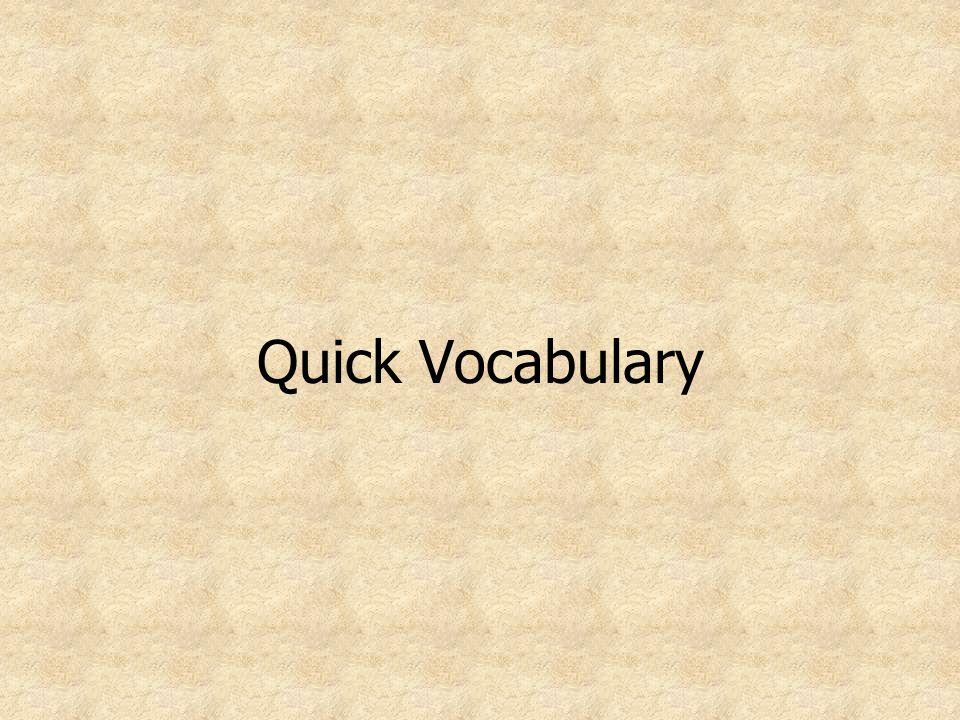 Quick Vocabulary