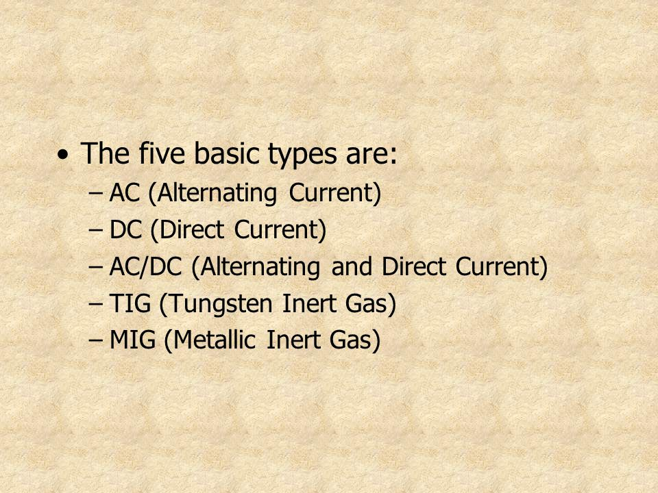 The five basic types are: –AC (Alternating Current) –DC (Direct Current) –AC/DC (Alternating and Direct Current) –TIG (Tungsten Inert Gas) –MIG (Metal