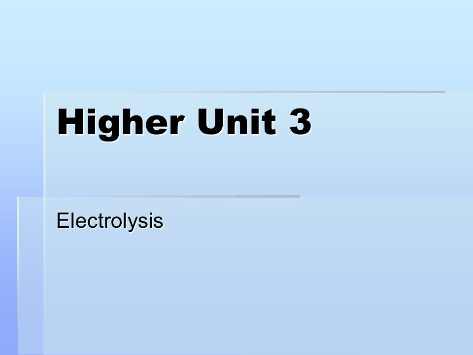 Higher Unit 3 Electrolysis