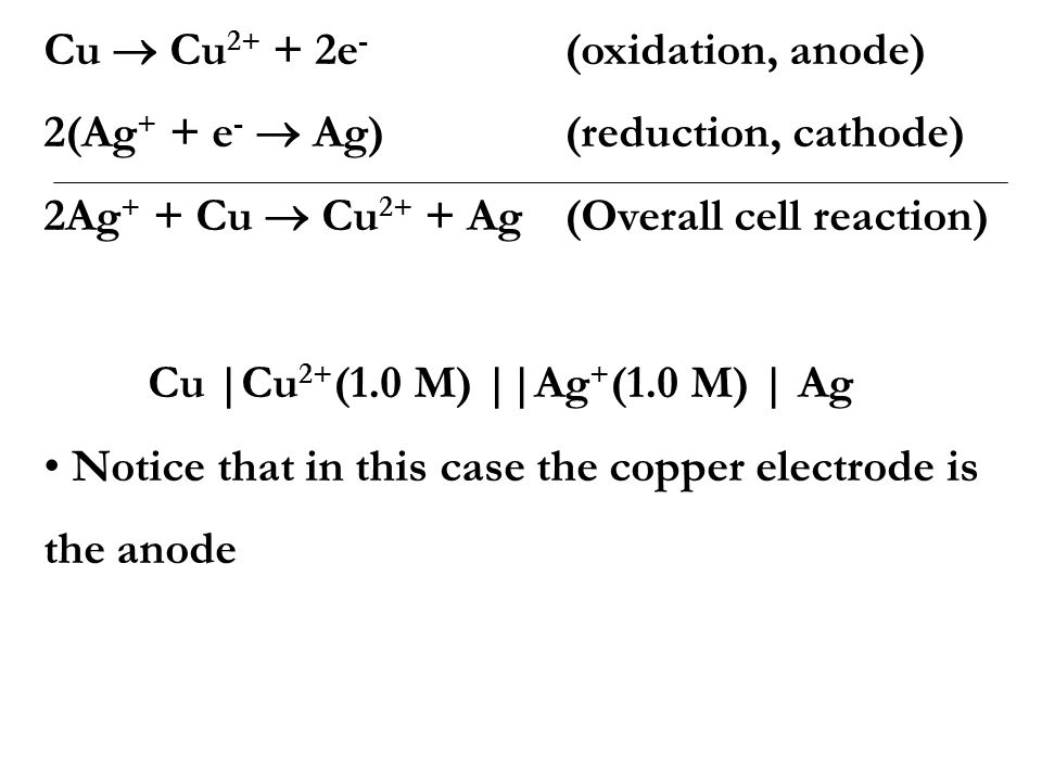 The Silver-Copper cell Composed of two half-cells: 1. A strip of copper immersed in 1 M CuSO 4 2. A strip of silver immersed in 1 M AgNO 3 Experimenta
