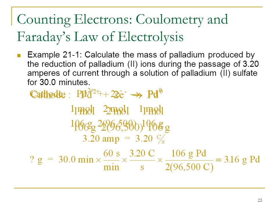 25 Counting Electrons: Coulometry and Faraday's Law of Electrolysis Example 21-1: Calculate the mass of palladium produced by the reduction of palladi