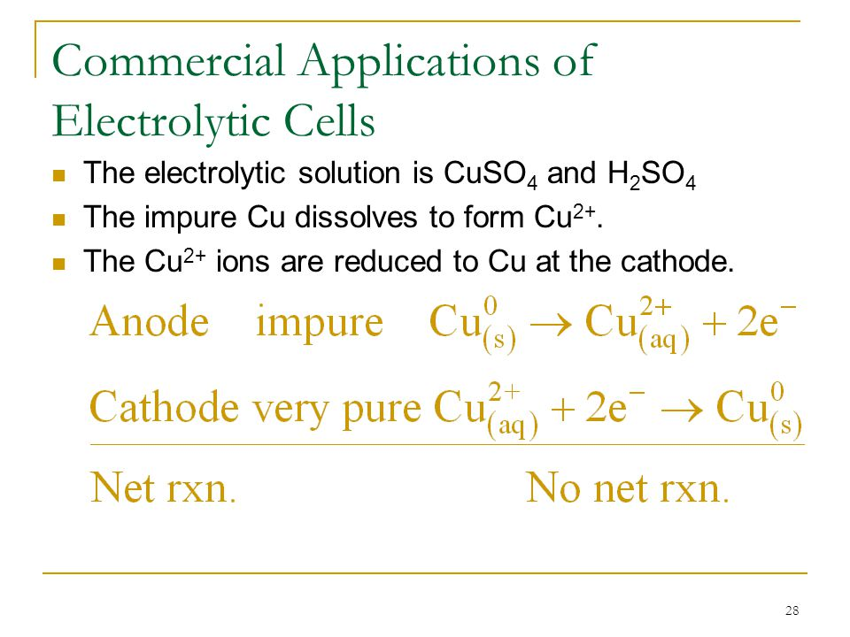 28 Commercial Applications of Electrolytic Cells The electrolytic solution is CuSO 4 and H 2 SO 4 The impure Cu dissolves to form Cu 2+. The Cu 2+ ion