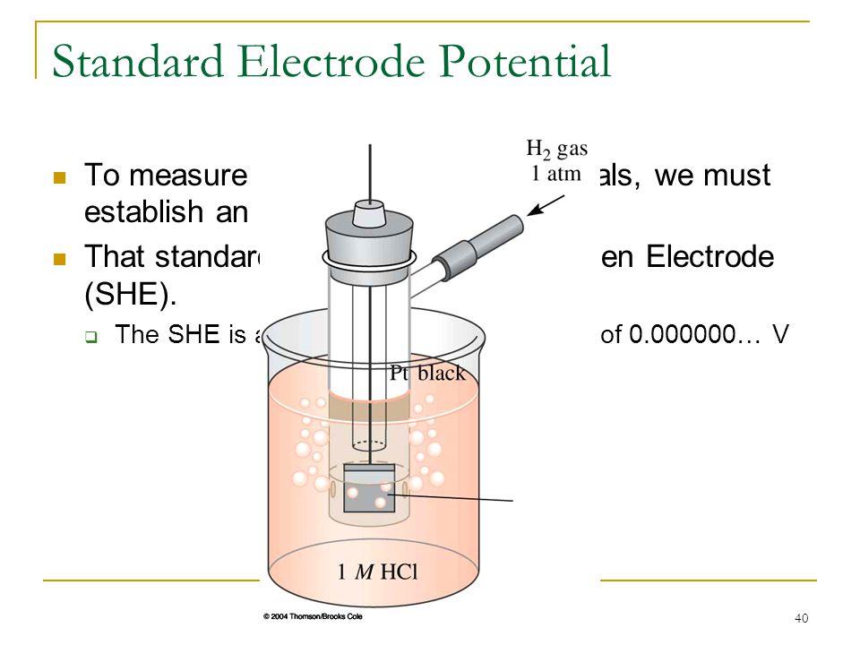 40 Standard Electrode Potential To measure relative electrode potentials, we must establish an arbitrary standard. That standard is the Standard Hydro