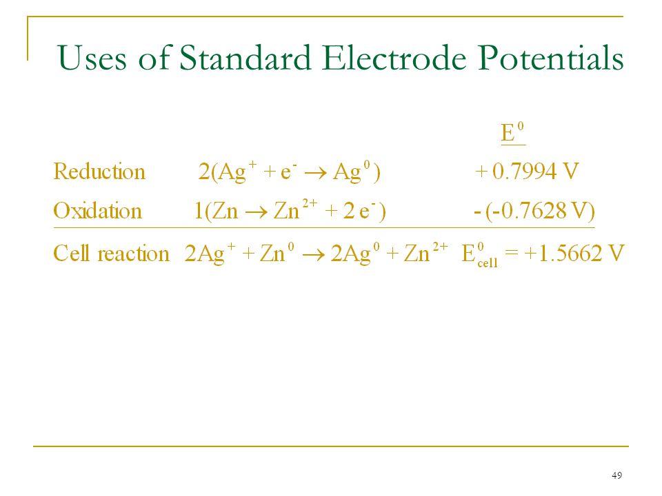 49 Uses of Standard Electrode Potentials