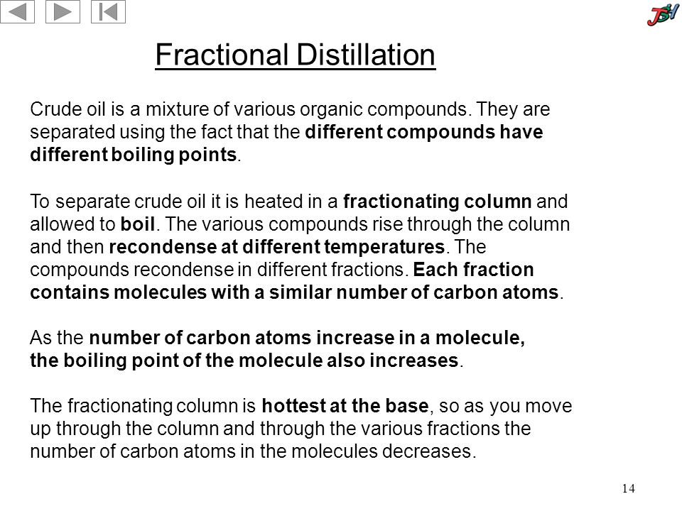 14 Fractional Distillation Crude oil is a mixture of various organic compounds.