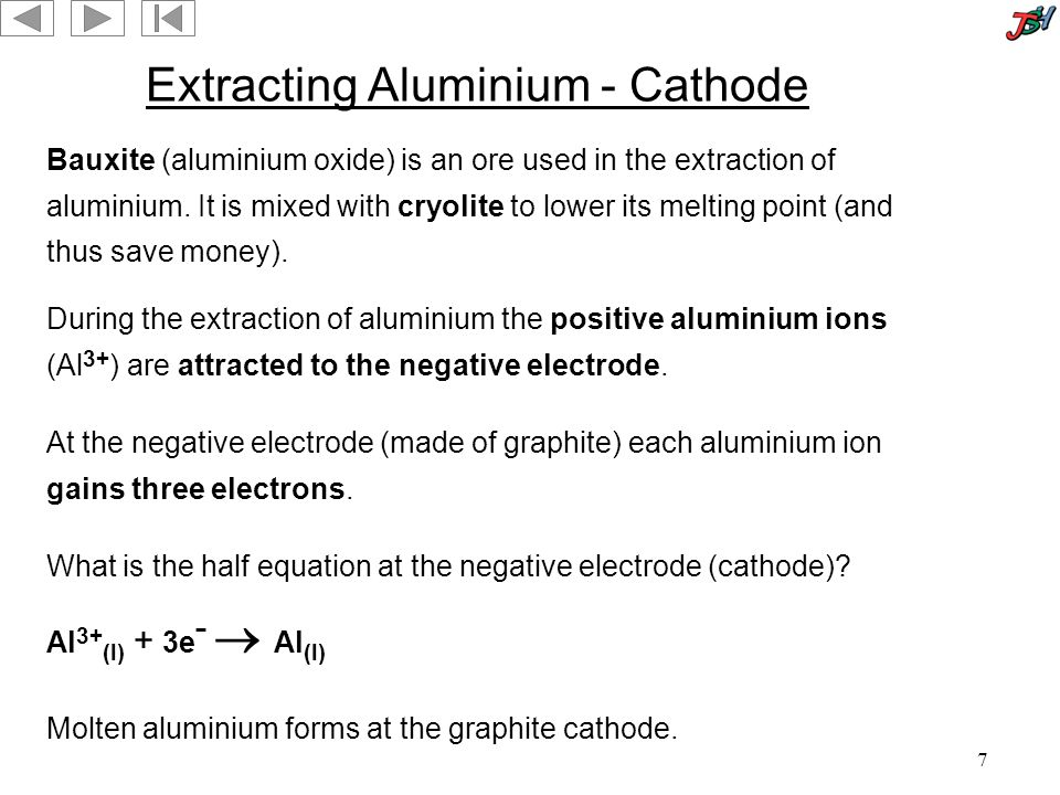 7 Extracting Aluminium - Cathode During the extraction of aluminium the positive aluminium ions (Al 3+ ) are attracted to the negative electrode.