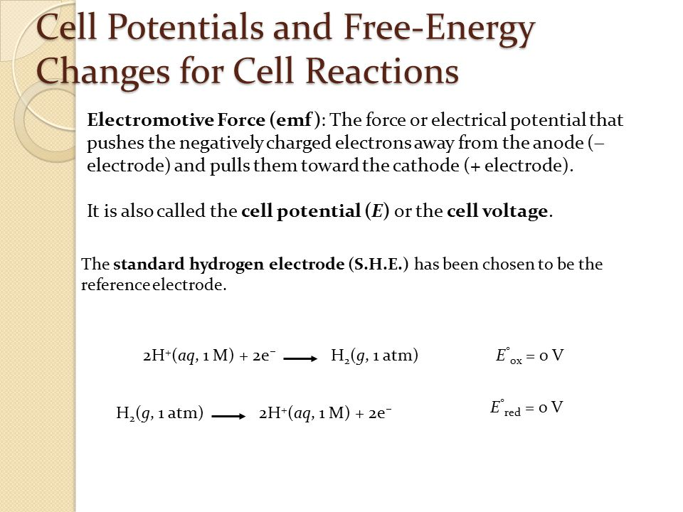 Cell Potentials and Free-Energy Changes for Cell Reactions Electromotive Force (emf): The force or electrical potential that pushes the negatively cha