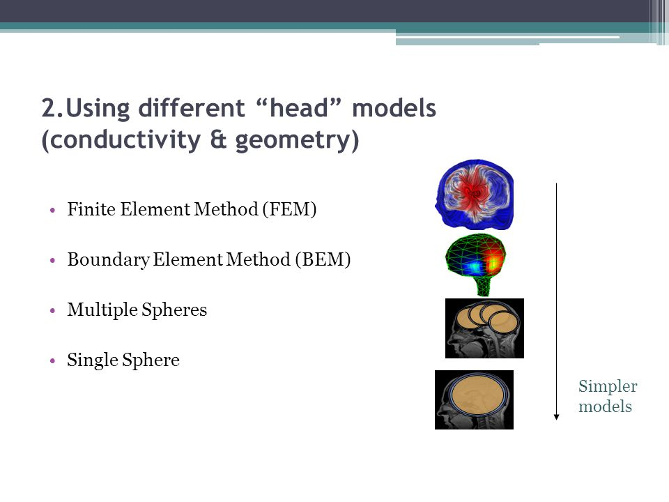 "2.Using different ""head"" models (conductivity & geometry) Finite Element Method (FEM) Boundary Element Method (BEM) Multiple Spheres Single Sphere Sim"