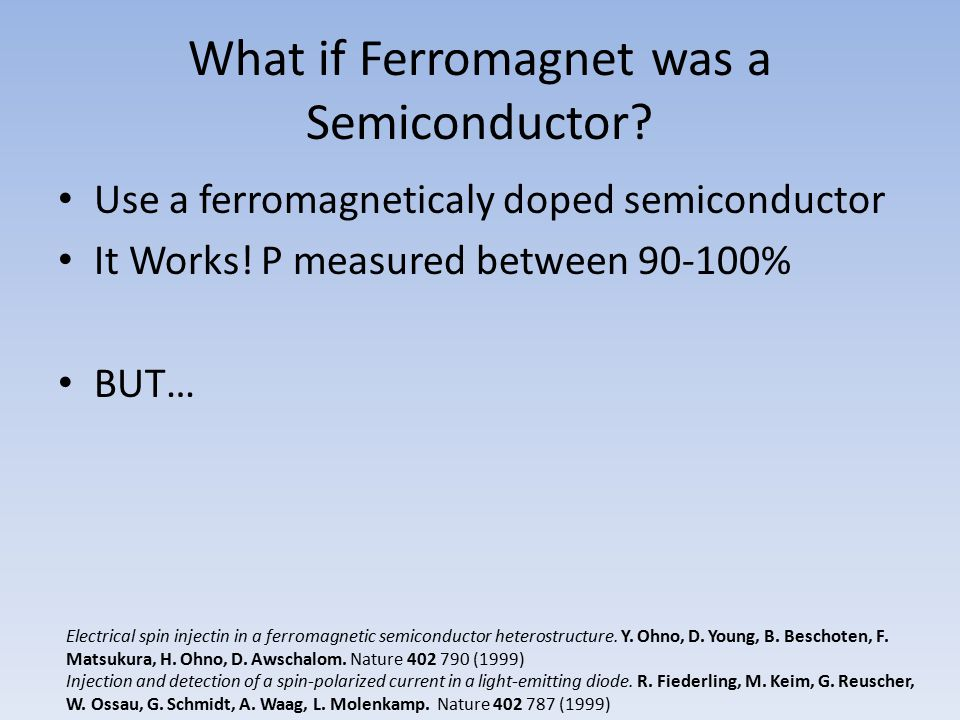 What if Ferromagnet was a Semiconductor? Use a ferromagneticaly doped semiconductor It Works! P measured between 90-100% BUT… Electrical spin injectin