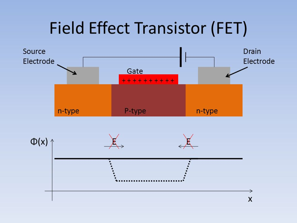 Field Effect Transistor (FET) Gate Source Electrode Drain Electrode n-type P-type Φ(x) x EE + + + + +