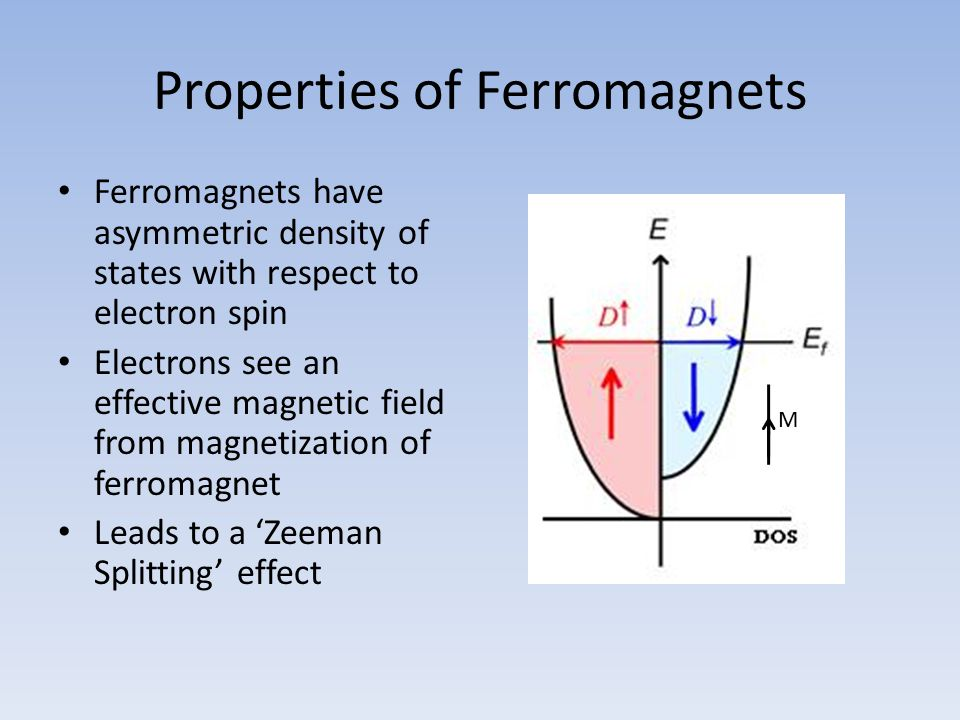 Properties of Ferromagnets Conduction electrons form a polarized current M