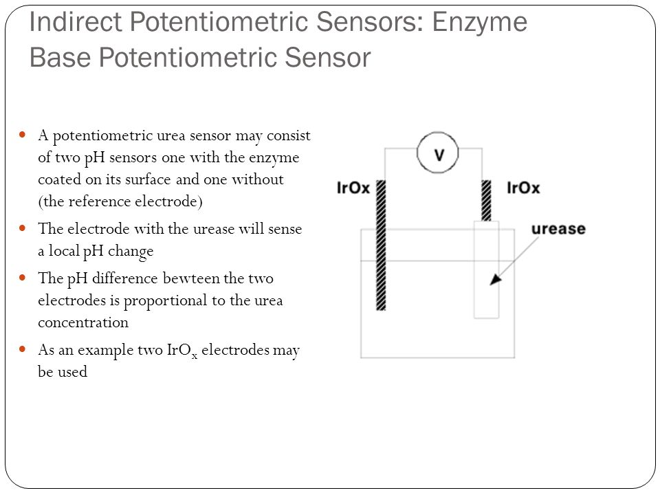 Indirect Potentiometric Sensors: Enzyme Base Potentiometric Sensor A potentiometric urea sensor may consist of two pH sensors one with the enzyme coat