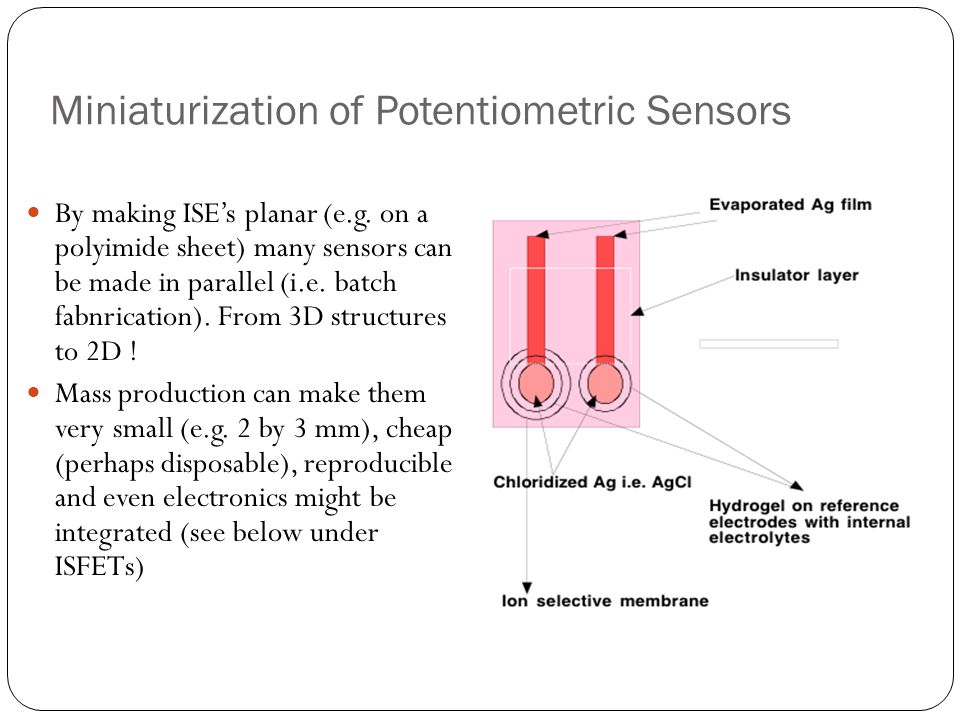 Miniaturization of Potentiometric Sensors By making ISE's planar (e.g. on a polyimide sheet) many sensors can be made in parallel (i.e. batch fabnrica