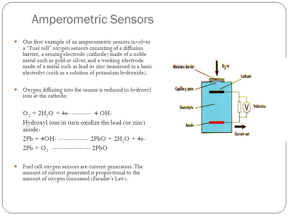Amperometric Sensors Our first example of an amperometric sensors involves a