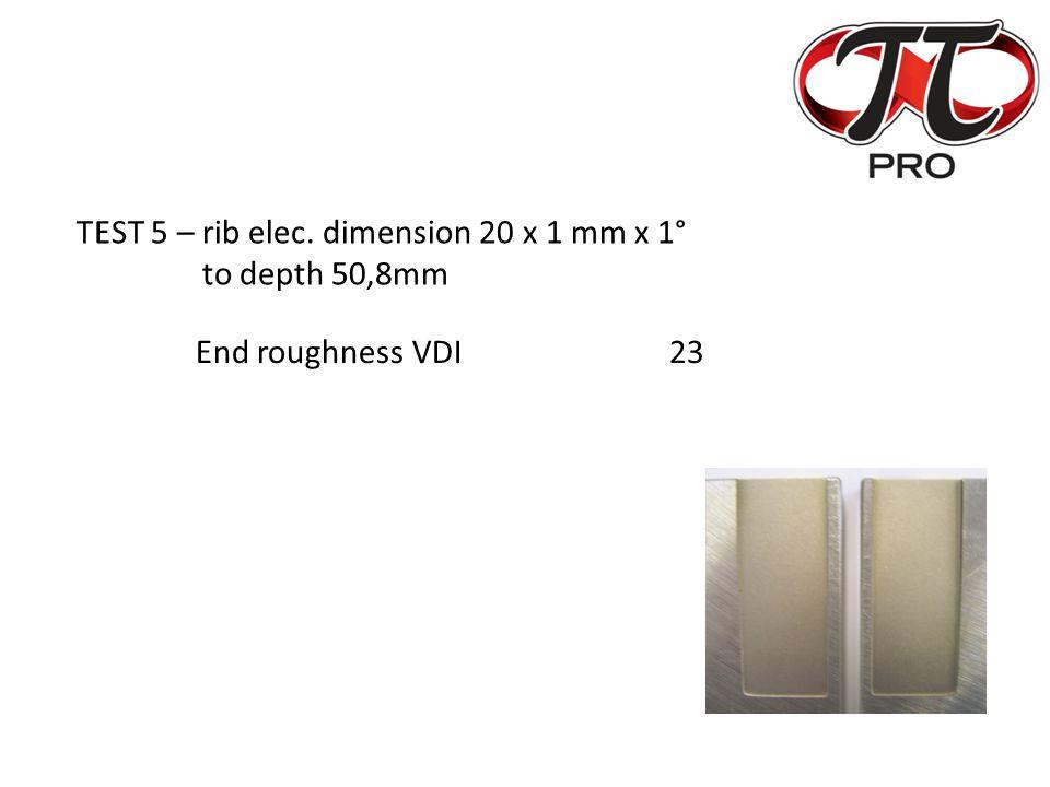 TEST 5 – rib elec. dimension 20 x 1 mm x 1° to depth 50,8mm End roughness VDI23