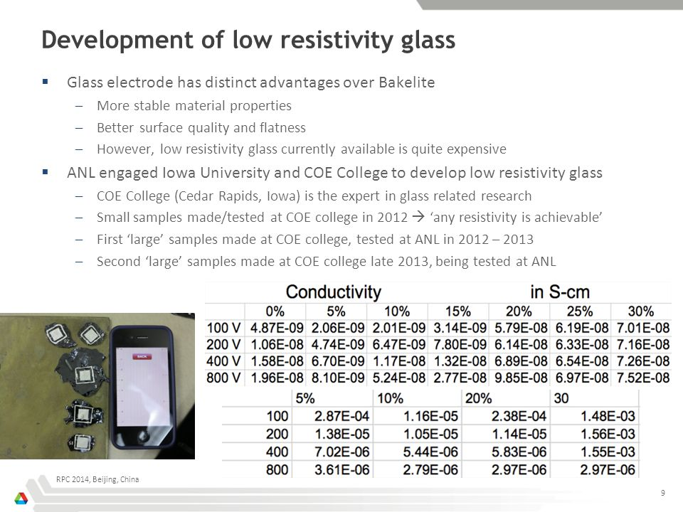 Development of low resistivity glass  Glass electrode has distinct advantages over Bakelite –More stable material properties –Better surface quality