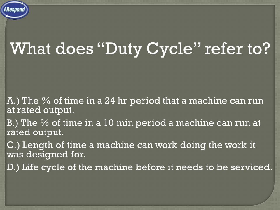 What does Duty Cycle refer to.