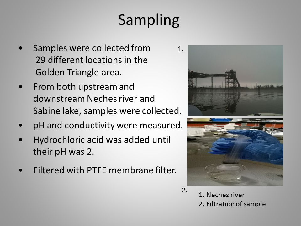 Sampling Samples were collected from 1. 29 different locations in the Golden Triangle area. From both upstream and downstream Neches river and Sabine