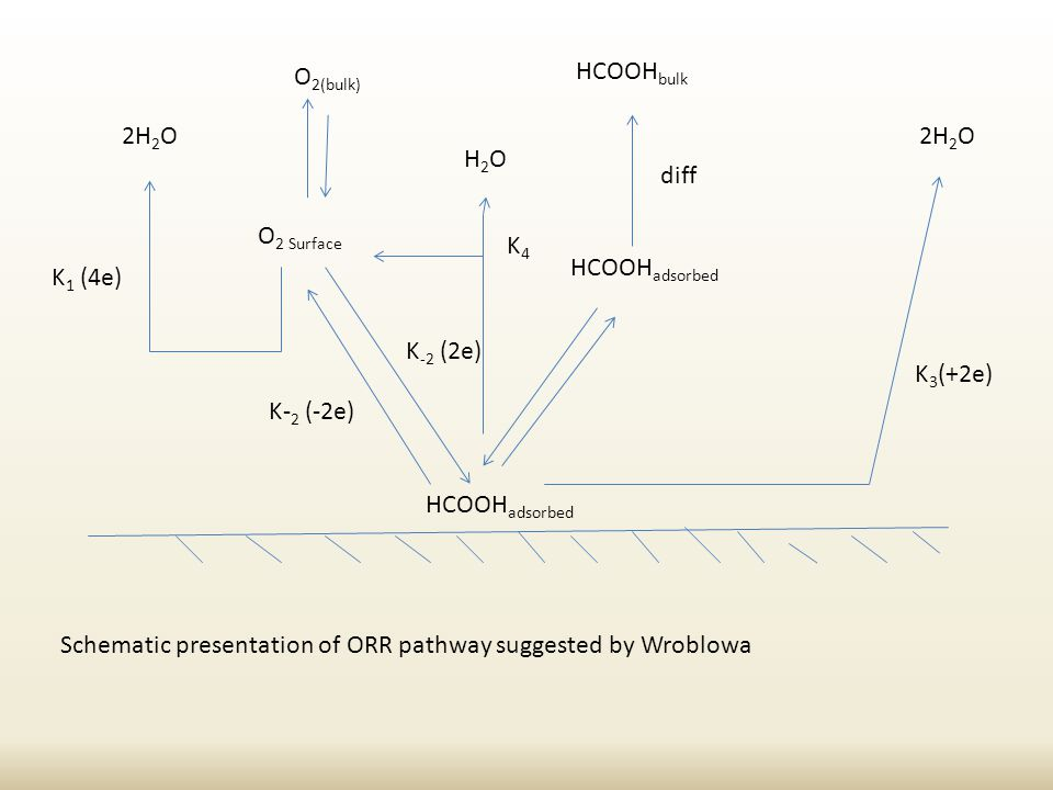 HCOOH adsorbed 2H 2 O K 3 (+2e) HCOOH adsorbed HCOOH bulk diff O 2(bulk) O 2 Surface K- 2 (-2e) K -2 (2e) 2H 2 O K 1 (4e) H2OH2O K4K4 Schematic presentation of ORR pathway suggested by Wroblowa