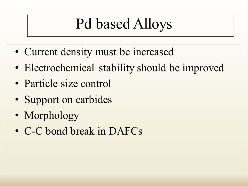 Pd based Alloys Current density must be increased Electrochemical stability should be improved Particle size control Support on carbides Morphology C-C bond break in DAFCs