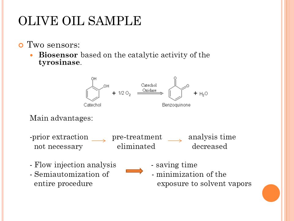 OLIVE OIL SAMPLE Two sensors: Biosensor based on the catalytic activity of the tyrosinase. Main advantages: -prior extraction pre-treatment analysis t