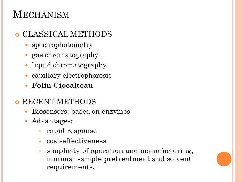 M ECHANISM CLASSICAL METHODS spectrophotometry gas chromatography liquid chromatography capillary electrophoresis Folin-Ciocalteau RECENT METHODS Bios