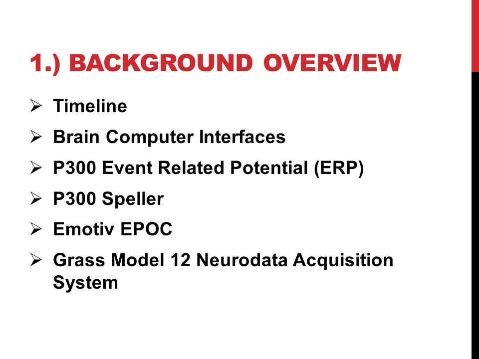 1.) BACKGROUND OVERVIEW  Timeline  Brain Computer Interfaces  P300 Event Related Potential (ERP)  P300 Speller  Emotiv EPOC  Grass Model 12 Neurodata Acquisition System