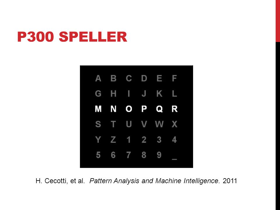 P300 SPELLER H. Cecotti, et al. Pattern Analysis and Machine Intelligence. 2011