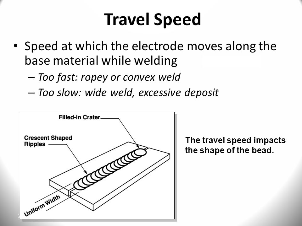 27 Travel Speed Speed at which the electrode moves along the base material while welding – Too fast: ropey or convex weld – Too slow: wide weld, excessive deposit The travel speed impacts the shape of the bead.