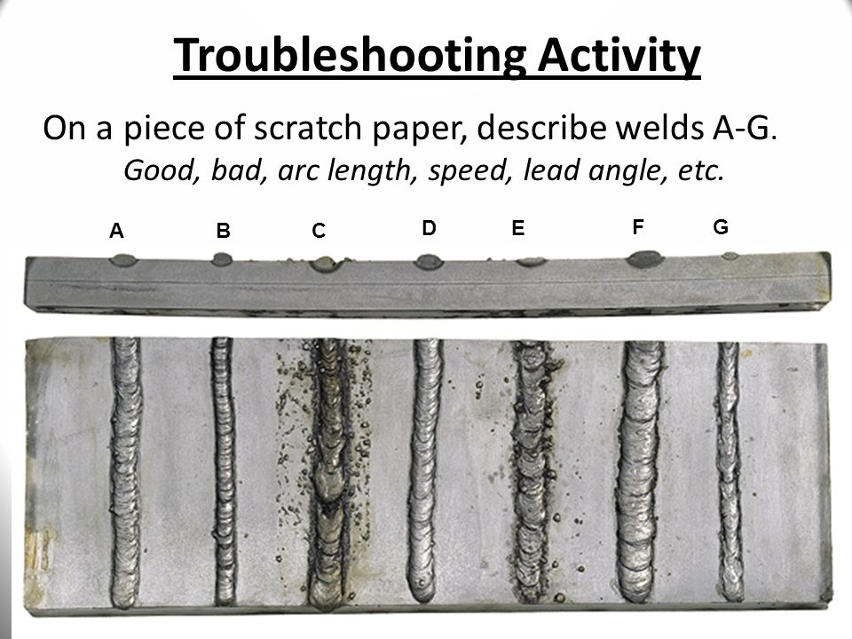 30 Troubleshooting Activity AB C DE FG On a piece of scratch paper, describe welds A-G.